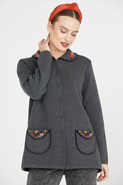 Sementa Bebe Yaka Nakışlı Kadın Triko Ceket - Koyu Gri