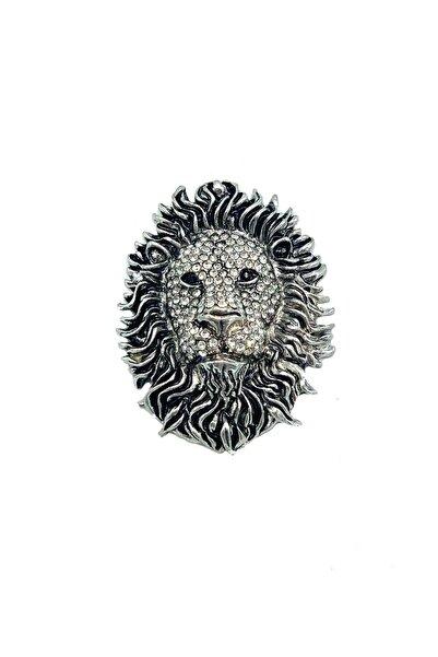 Dünyadan Hediyeler Gümüş  Magnet Aslan Kafası Taşlı Zirkon