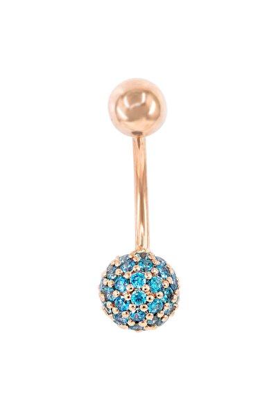 Myra Gold Mavi Taşlı Rose Altın Piercing