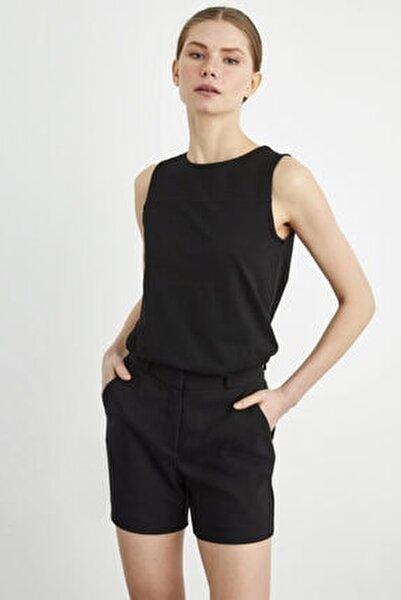Kadın Siyah Kolsuz Örme Bluz