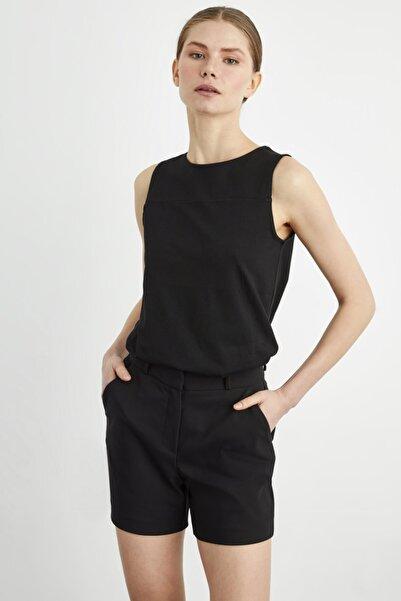 adL Kadın Siyah Kolsuz Örme Bluz