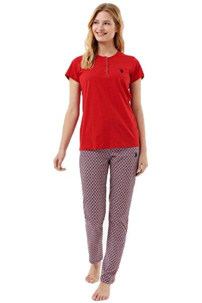 U.S. Polo Assn. %100 Pamuk Düğmeli Bisiklet Yaka Kırmızı Kadın Pijama Takım