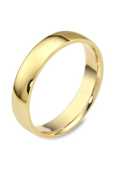 Gümüşbox Düz Çelik Alyans Gold 4 Mm