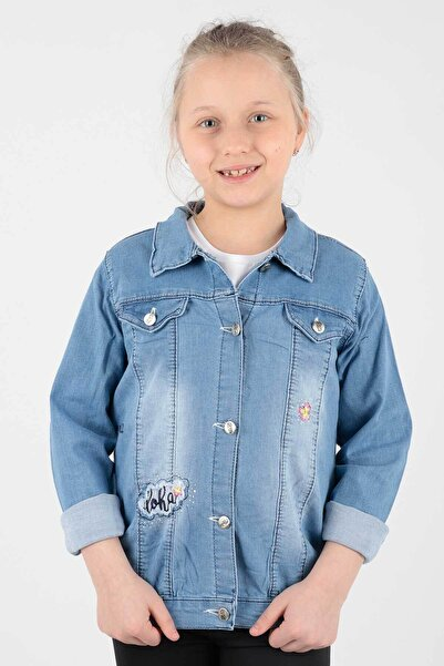 Ahenk Kids Kız Çocuk Çiçek Nakışlı Jean Ceket Ak653031