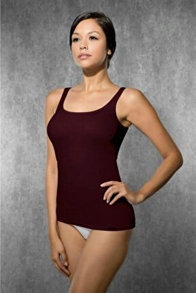 Kadın Bordo Modal İp Askılı Atlet 9320