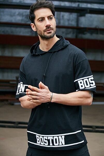 Sateen Men Erkek Siyah Kapüşonlu  B Yaka T-Shirt