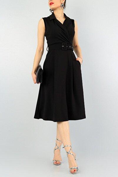 lovebox Esnek Kumaş Kruvaze Yaka Kemer Detaylı Pileli Dizaltı Siyah Abiye Elbise 59434