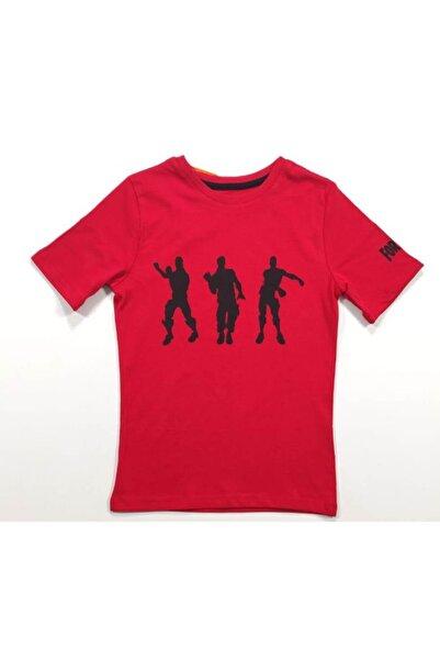 Fortnite Unisex Çocuk Kırmızı Renkli  T-Shirt