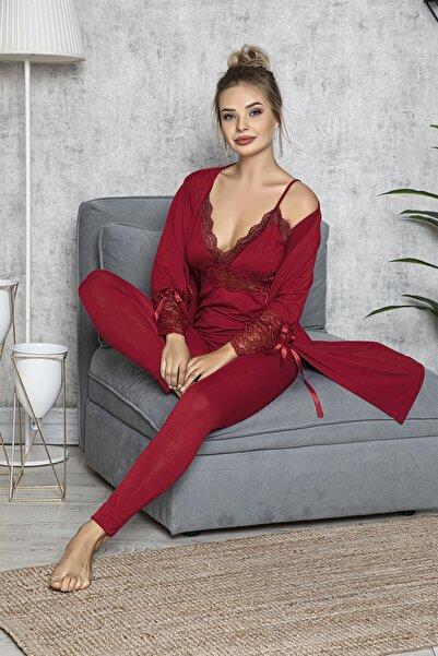MODAREYA Kadın Bordo Sabahlıklı Taytlı Dantelli Fantazi Pijama Takım