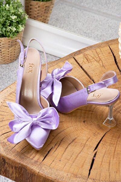 Fox Shoes Kadın Lila Kumaş Cam Topuklu Ayakkabı K922295004