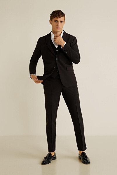 MANGO Man Erkek Siyah Dar Kesim Kumaş Pantolon 43010493