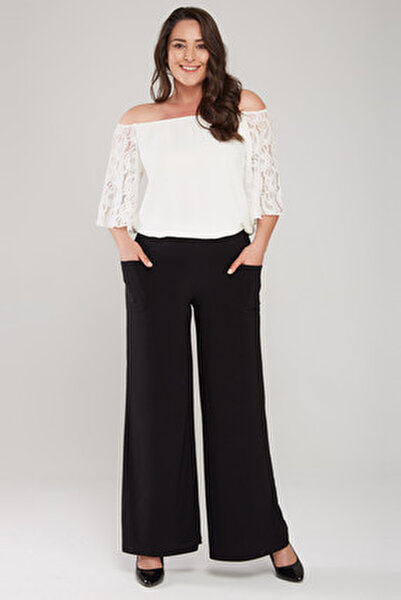 Kadın Siyah Cep Detaylı Bol Paça Pantolon 17LB9083