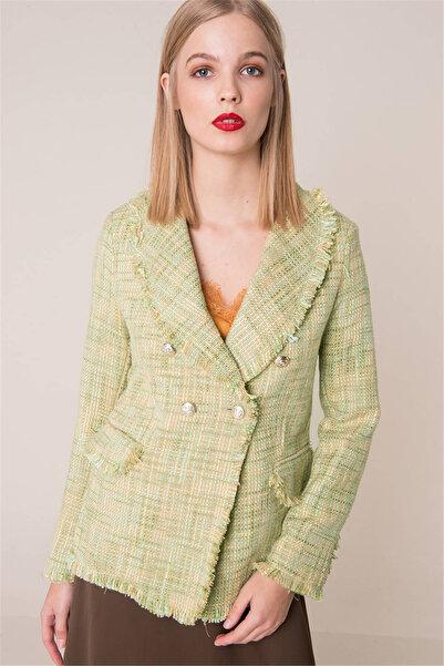 BSL Kadın Yeşil Düğme Detaylı Püsküllü Ceket 12633