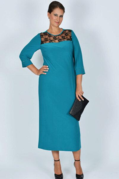 Nidya Moda Kadın Turkuaz Roba Dantel V Taşlı Abiye Elbise 4025T