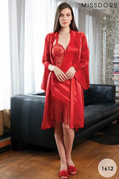 MISSDORE Kadın Kırmızı Sabahlıklı Gecelik Takımı MSD-1612
