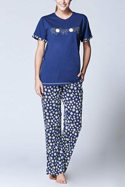 ROLY POLY Kadın Lacivert Süprem Kısa Kol Pijama Takımı 7857