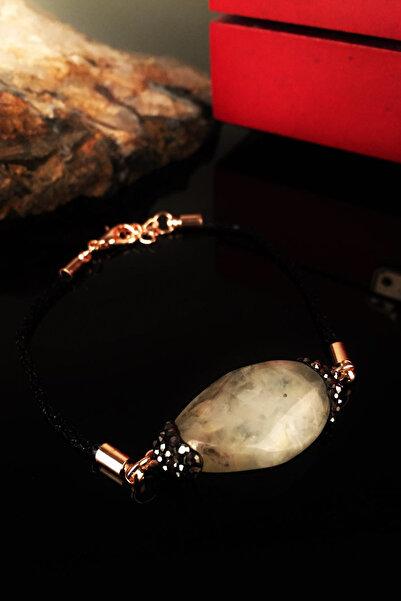 Dr. Stone Kadın Doğaltaş Peridot Taşı Rose Altın Kaplama Bileklik Krb212