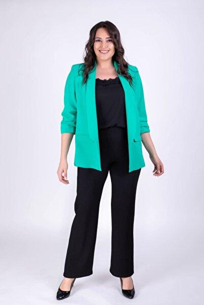 MYLİNE Kadın Kolları Detaylı Yeşil Ceket 34345