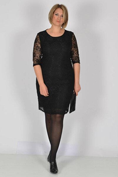 Nidya Moda Büyük Beden Siyah Dantel Abiye Elbise-4009dbs