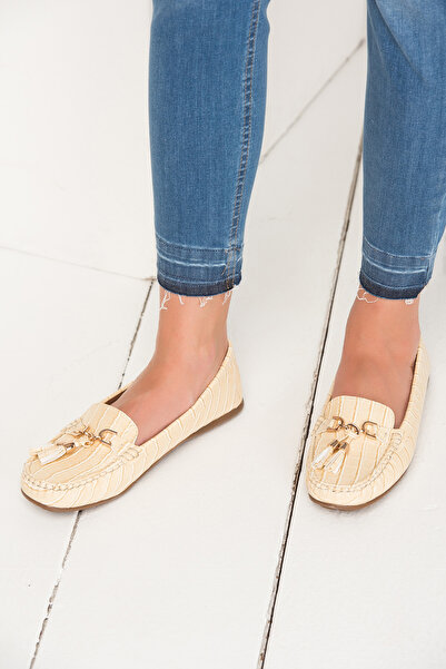 Derimod Bej Kadın Loafer Ayakkabı