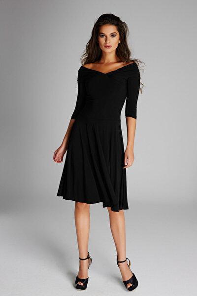 Laranor Kadın Siyah Omuz Dekolteli Elbise 13K020-L