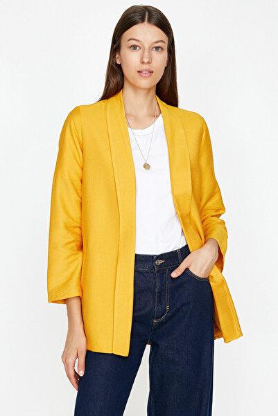 Koton Kadın  Sarı Cep Detaylı Ceket 9KAK52012UW