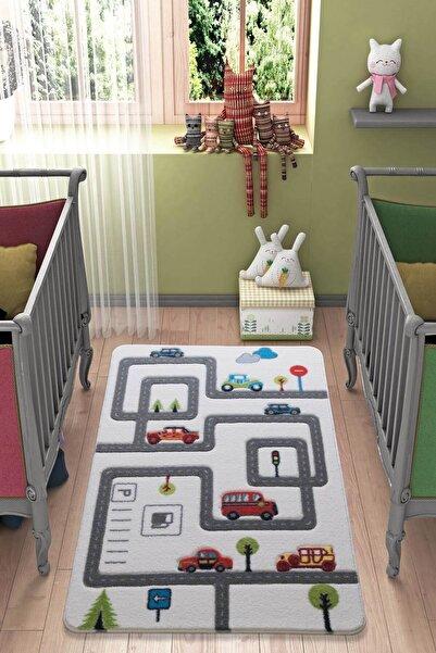 Confetti Roads 100X150 K.Gri Oymalı Çocuk Odası Halısı