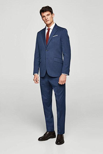 MANGO Man Erkek Lacivert Regular Kesim Çizgili Takım Pantolon 23030327