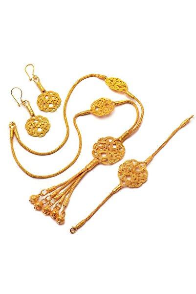 Sümer Telkari Aşk Düğümü Altın Yaldızlı Kazaziye El Sarması Gümüş Set 1109