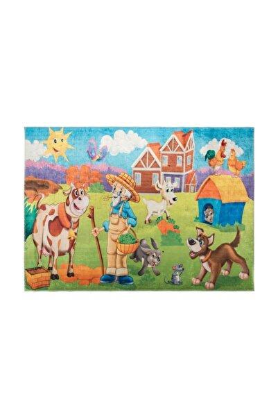 GizHome Kids Kaymaz Taban Yıkanabilen Halı 100x140 Çiftlik
