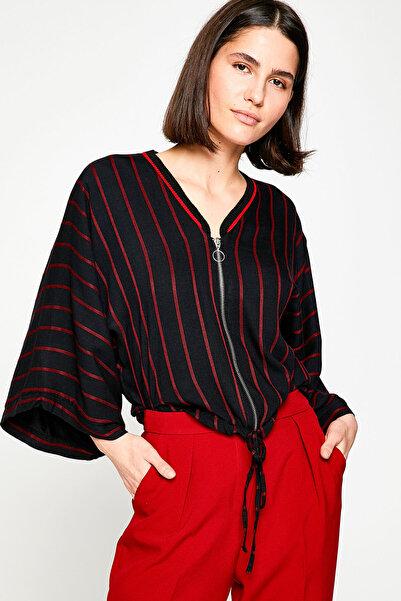 Koton Kadın Kırmızı Çizgili Ceket 8KAK58037CW