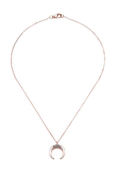 Modex Kadın Rose Taşlı Hilal Kolye Uk9412