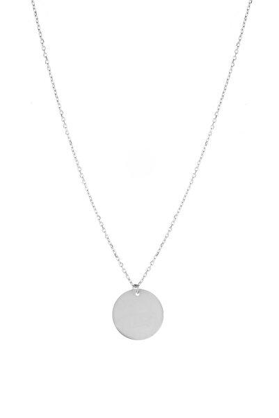 Azuris Silver Kadın 925 Ayar Gümüş Yuvarlak Plaka Kolye Alk1210 ALK1210