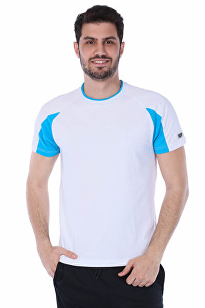 Erkek T-shirt - Essence Bisiklet Yaka Beyaz Spor - 1D11318
