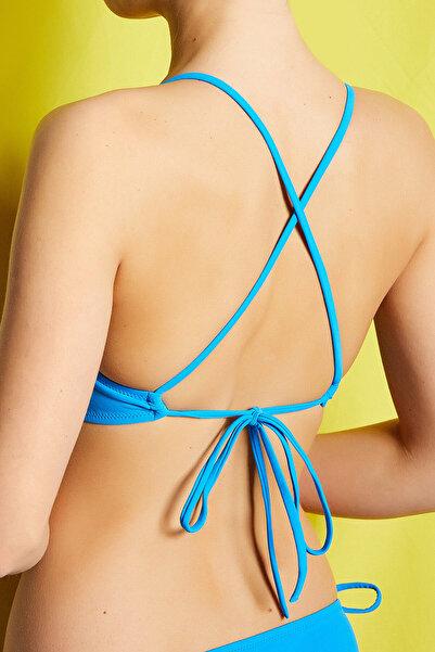 Koton Kadın Mavi Bikini Üstü 8YAK89665MM