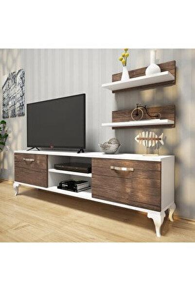 Rani A4 Duvar Raflı Tv Sehpası - Kitaplıklı Tv Ünitesi Modern Ayaklı Tasarım Beyaz Ceviz