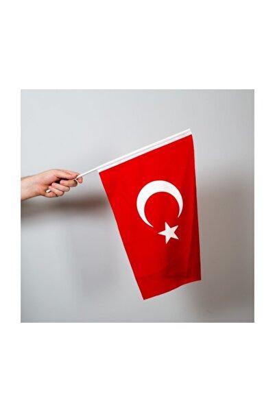 Özgüvenal Türk bayrağı 30x45 cm Alpaka Kumaş - Sopalı-10 adet
