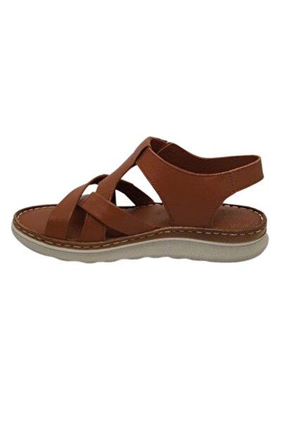 VİS Kadın Kahverengi Ortopedik Hakiki Deri Sandalet