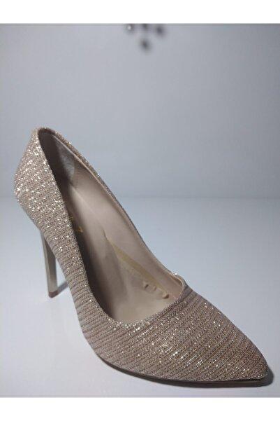 SEVEN7 Kadın Dore Orta Topuklu Abiye Ayakkabı