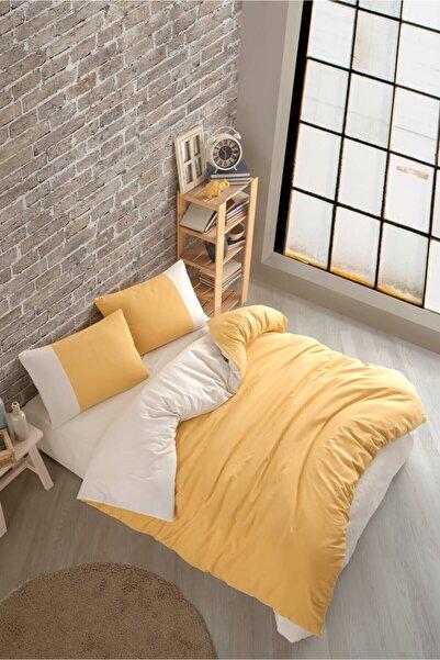 Cotton Touch Plain Series Çift Taraflı Sarı-krem Çift Kişilik Nevresim Takımı