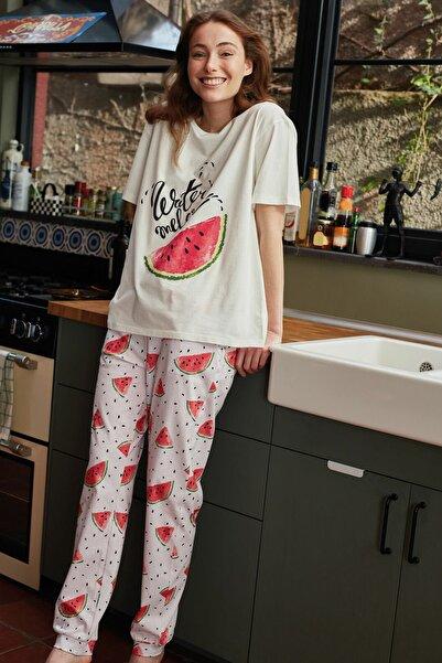 LC Waikiki Kadın Açık Pembe Baski LCW DREAM Pijama Takım