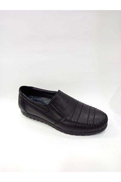 Modesa 157 Siyah Hakiki Deri Ortopedik Kauçuk Taban Günlük Erkek Ayakkabı
