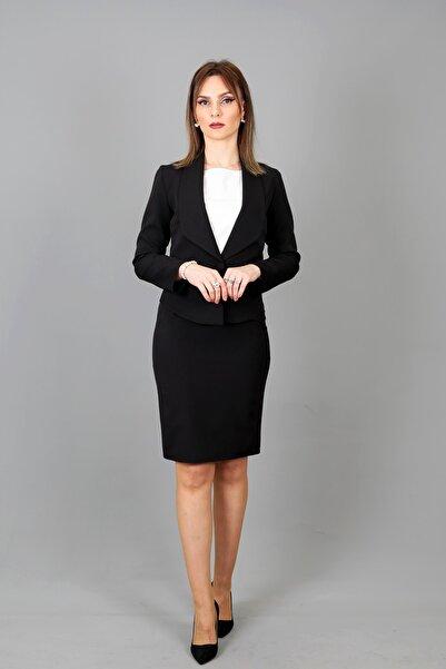 ÖNDER ÖZSOY Yakalı Mini Ceket Kısa Etek Takım-siyah