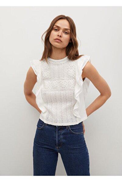 MANGO Woman Kadın Kırık Beyaz Fırfırlı Bluz
