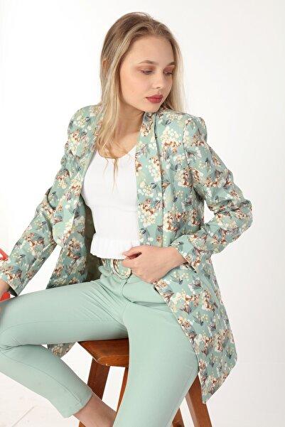 Yare Kadın Şal Yaka Uzun Kollu Gold İğneli Çiçekli Ceket