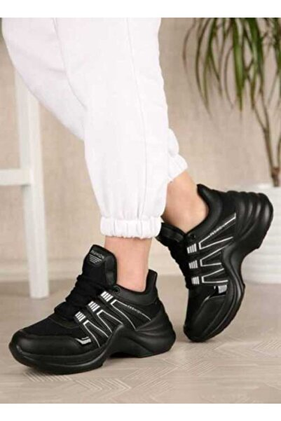 Twingo Kadın Siyah Yüksek Taban Günlük Yürüyüş Ayakkabısı