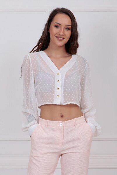 Sense Kadın Beyaz Önü Düğmeli Kolları Manşetli Puantiyeli Şifon Crop Bluz