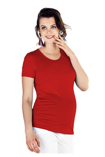 Ebru Maternity Kadın  4274 - Yanları Drapeli Hamile  T-Shirt