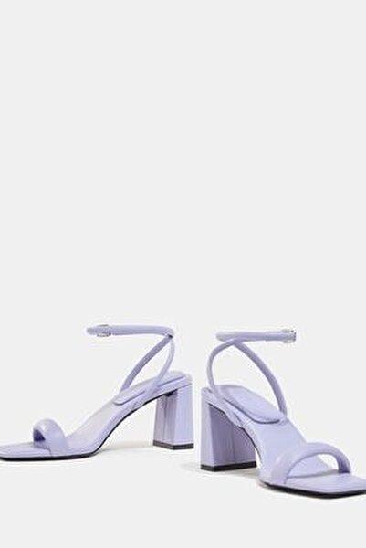 Kadın Mor Dolgulu Bantlı Topuklu Sandalet