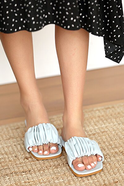 Pembe Potin Kadın Mavi Sandalet